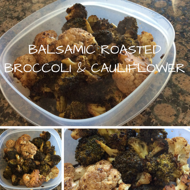 Balsamic Roasted Broccoli and Cauliflower