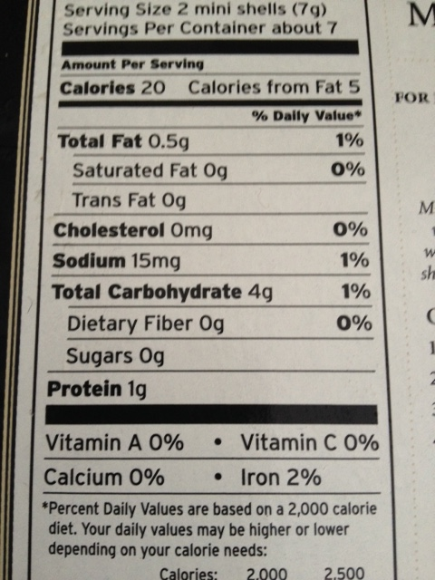 puff pastry cups nutrition information