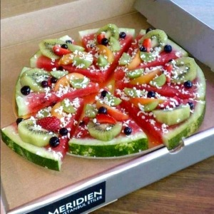 Or just serve it for summer cookouts, watermelon slices covered with other fruits.