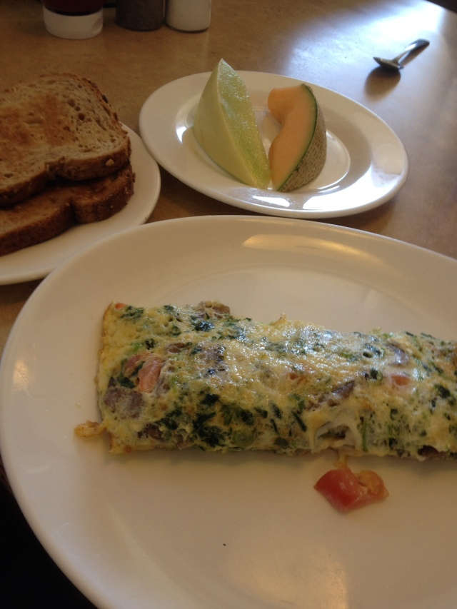 My Zebb's omelette came with whole wheat toast and fruit, a nice breakfast, or lunch.
