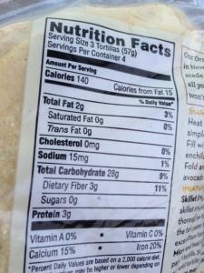 365 organic tortillas nutrition information
