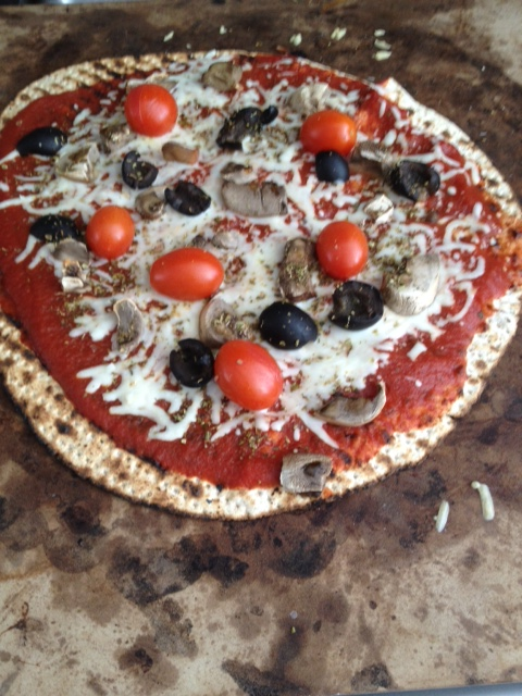 MY matzo pizza...the matzo has no salt, no fat and no sugar in it, a great base for salt-free tomato sauce and fat-free cheese.