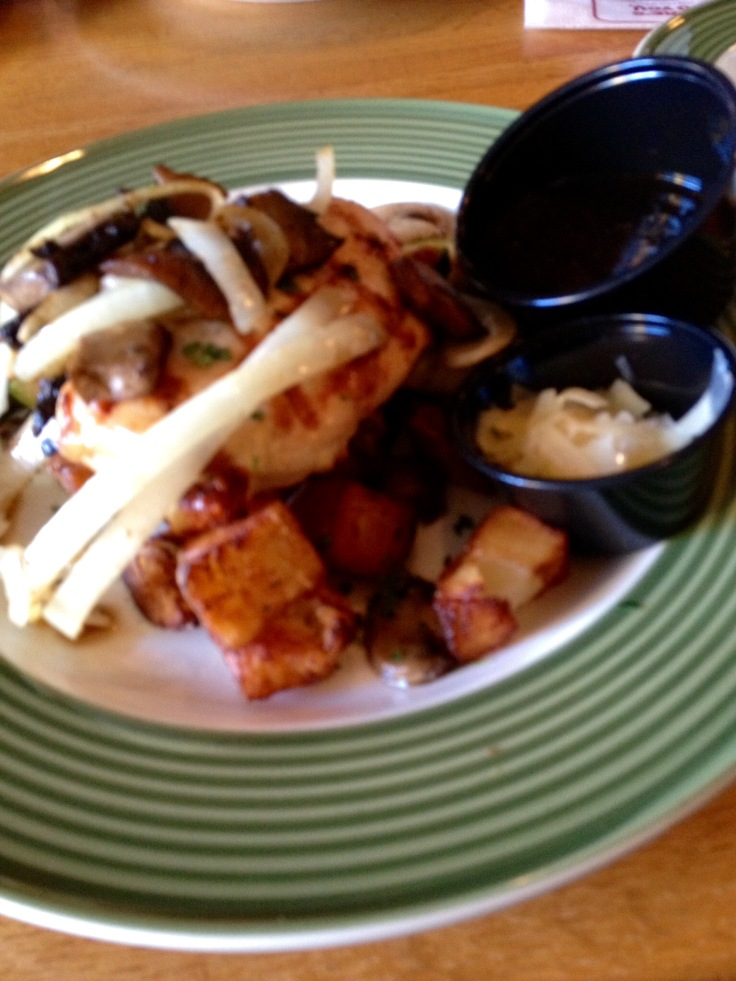 My Applebee's chicken, with sauce and cheese on the side, was too high in sodium for me.