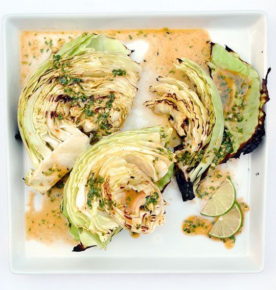 Grilled cabbage with a lime dressing, leave out the salt.
