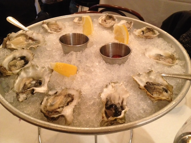 My incredible oyster plate at Pearl Tavern.