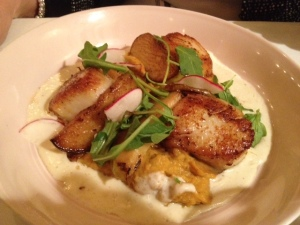 Perfectly cooked scallops at Pearl, for those who can't handle the raw seafood.