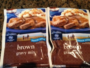 Kroger's reduced sodium brown gravy had less salt than prepared gravies but the taste was just ok, it still tasted salty to me.