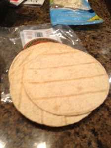 I started with these flat, low-salt tortilla shells from Trader Joe's.