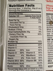 VitaTop nutritional information.