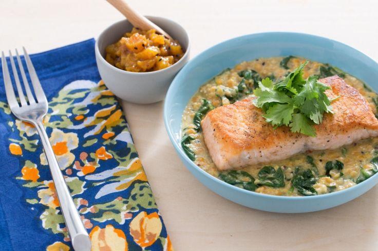 Lentil-crusted salmon from Blue Apron.