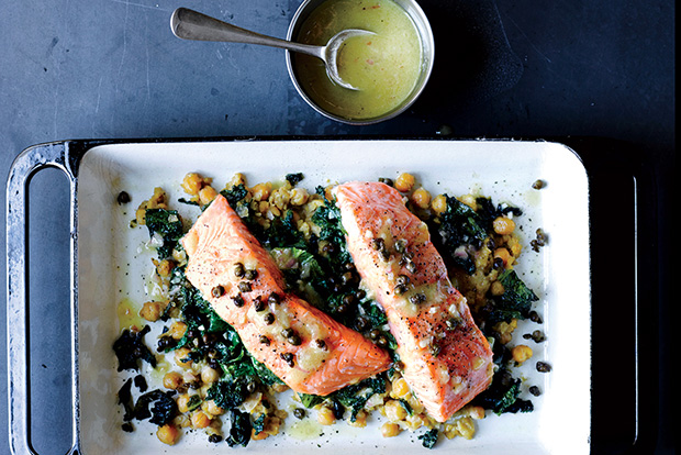 Slow-cooked salmon with chickpeas and mustard greens from Epicurious.com