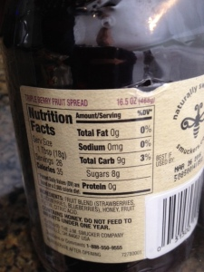Nutrition information shows 8 grams of sugar per tablespoon.