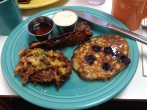 Maddie's potato pancake, left and a mini-blueberry one, right.