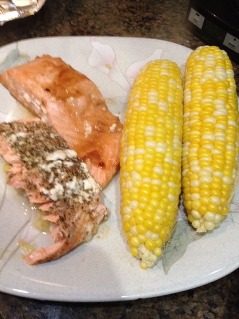 My Memorial Day salmon with corn, these are two of my five preps for the salmon.