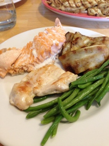 My birthday lunch -- salmon, chicken, eggplant and green beans. A great meal.