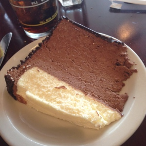 MY half slice of Junior's chocolate mousse cheesecake, Mmmmmmm.
