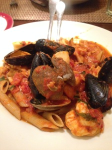 My wonderful seafood dish at Da Nonna Rosa's in Brooklyn.