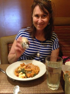 My wife enjoying her lunch at Da Nonna Rosa's.