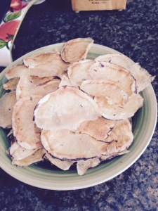 The finished purple potato chips.