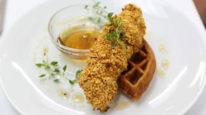 Chef Richard's re-imagined chicken and waffles. Not exactly gut-busting.