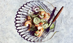 A wonderfully simple shrimp, fennel and cucumber salad