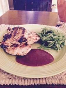 My grilled chicken, green beans and low-salt barbecue sauce.