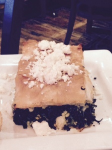 Our giant spinach pie at Kefi Greek Tavern,