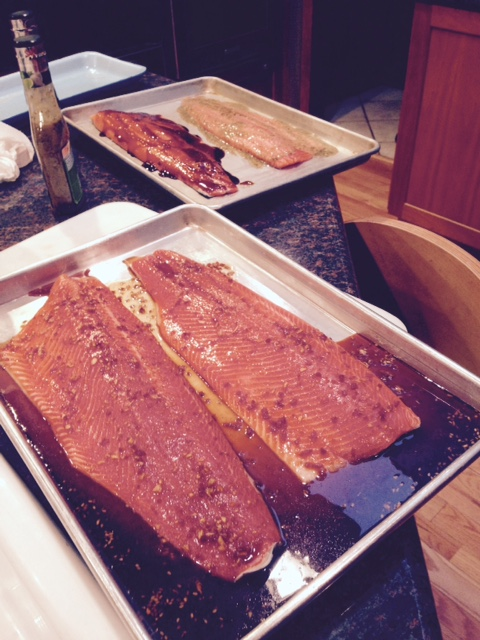 Our host allowed me to cook alongside him, so the back tray has salmon marinated with Mrs Dash salt-free marinades, the front with his home-made, high-salt marinade.