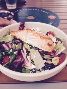 My Standard Market salad with salmon, a tasty lunch treat.