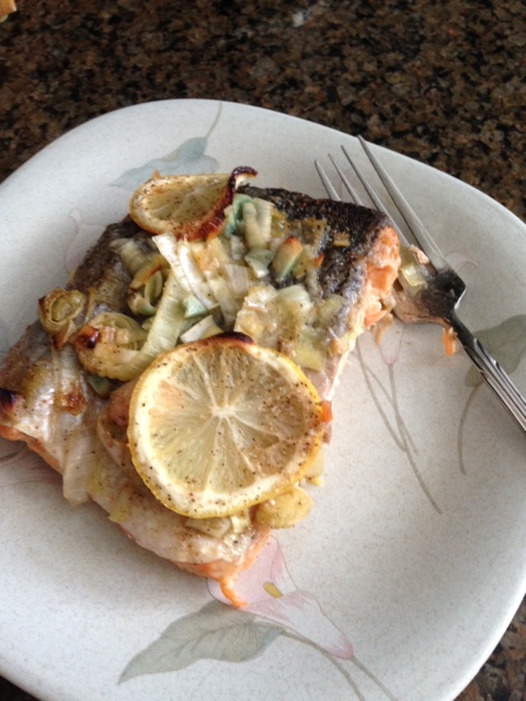 My lemon salmon. I used leek instead of scallions and it came great. I loved the garlic flavor.