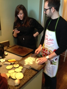 Jenny and Daniel creating their winning eggplant dip recipe.
