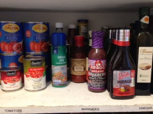My low-salt, low-fat, low-sugar pantry.