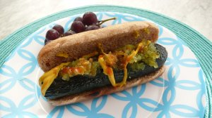 Zucchini dogs, a meatless alternative to hot dogs.