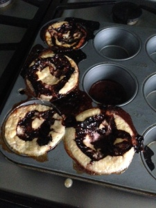 My deflated, soggy three-ingredient muffins.