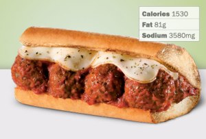 The Quizno's meatball sub, a salt bomb if ever there was one.