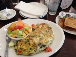 My Kappy's veggie omelette with fruit and whole wheat