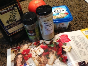 The ingredients you need for Greek roasted tilapia.