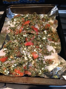 My Greek roasted tilapia ready to go in the oven.