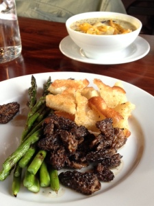 The luscious morels and grilled asparagus at Harvest. Bravo!!!