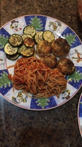 My dinner of garlic-herbed scallops, zucchini slices and whole-wheat spaghetti.
