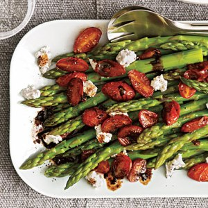 Asparagus with balsamic tomatoes.
