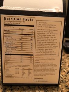 The San Sucre mousse ingredients list and nutrition info.