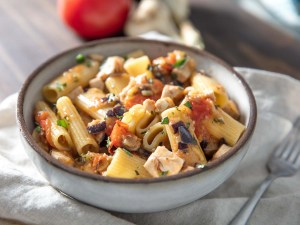 Rigatoni with swordfish, eggplant and tomatoes.